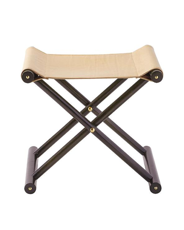 Jamie Young Shelby Olive Leather Stool In Olive Green