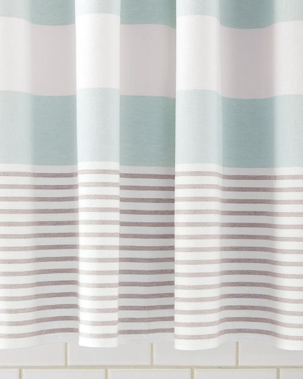 teal striped shower curtain. Fouta Aqua Shower Curtain