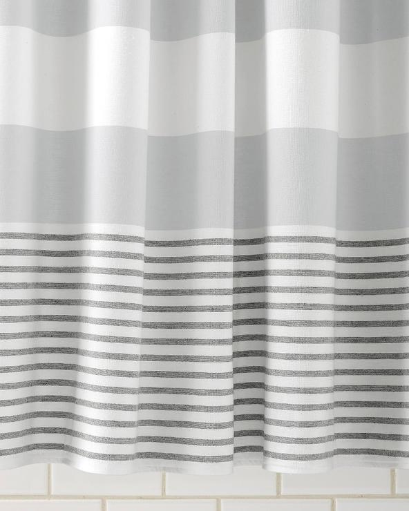 Grey White Striped Shower Curtain. Fouta Grey Shower Curtain