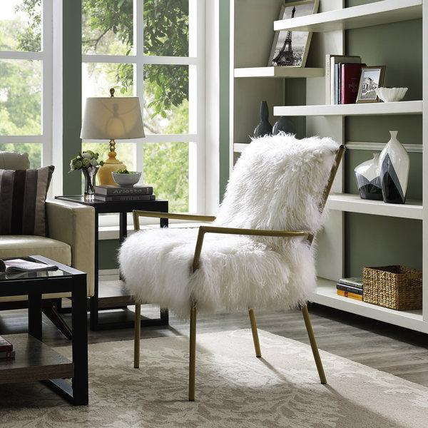 Ivory Sheepskin Collapsible Base Chair