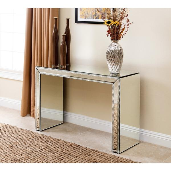 abbyson living venice studded mirror silver sofa table rh decorpad com mirrored sofa table furniture mirror sofa table with crystal