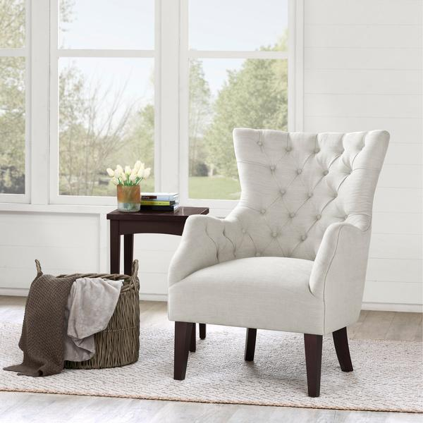 Hannah off white wing chair - High back wing chairs for living room ...