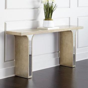 Splendora mirrored console table i horchow - Table haute console ...
