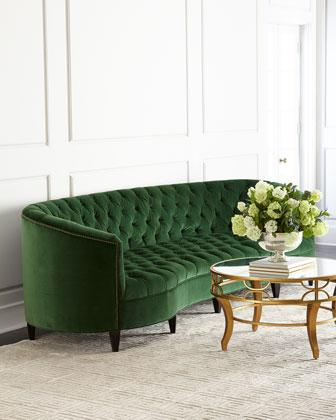 Old Hickory Tannery Eastman Green Tufted Sofa