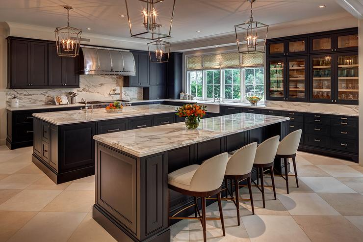 Kitchen with Two Black Islands - Contemporary - Kitchen