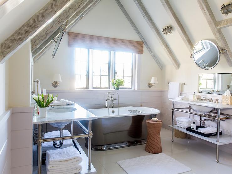 attic master bathroom ideas - Bathrooms Bedroom Gray Wash Wood Beams Design Ideas