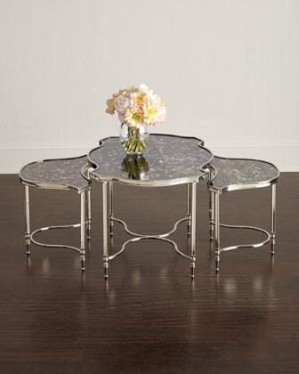 Set Of 2 Antique Mirror Top Pewter Frame Nesting Tables
