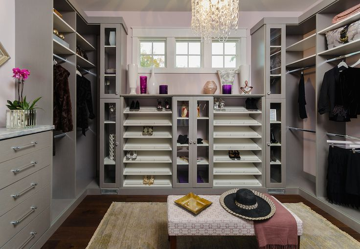 Gray Modular Closet System With Tilted Shelves For Shoes