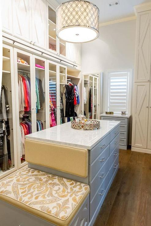 Gray Closet Island With Built In Bench Contemporary Closet