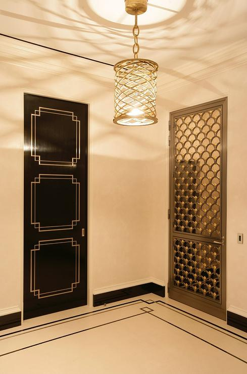 Art Deco Foyer Lighting : Hollywood regency foyer with black art deco door