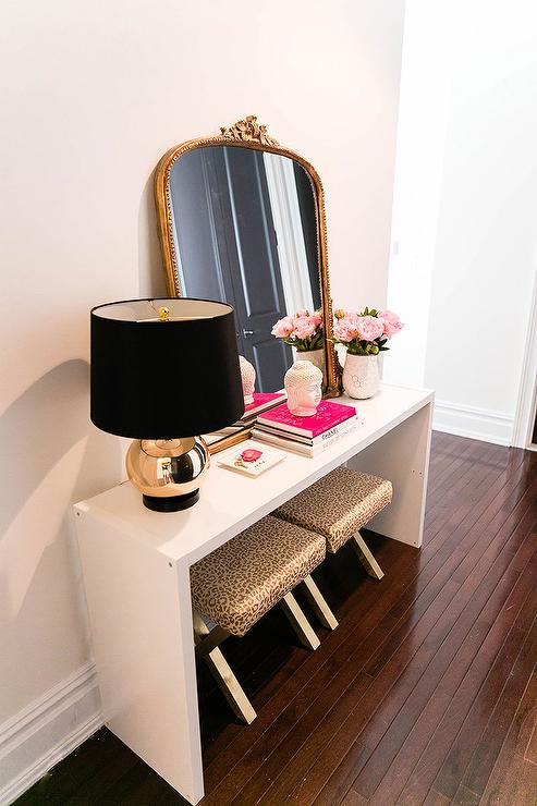 ikea hack console table with leopard stools - Console Tables Ikea