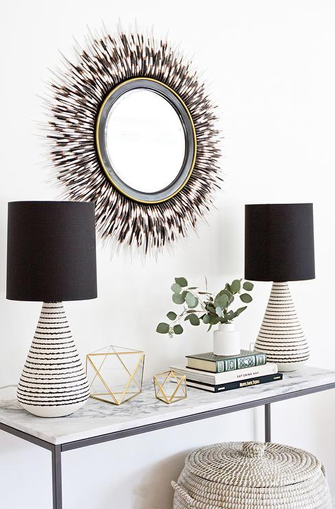 marble top console table with porcupine mirror contemporary entrance foyer. Black Bedroom Furniture Sets. Home Design Ideas