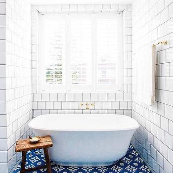 White Bathroom With Blue Mosaic Floor Tiles