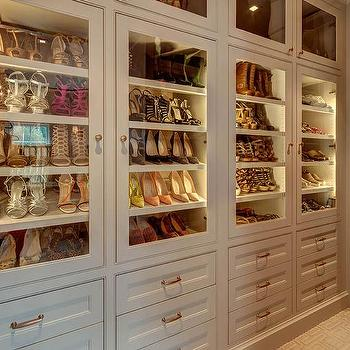 Glass Front Shoe Cabinets With Custom Lighting