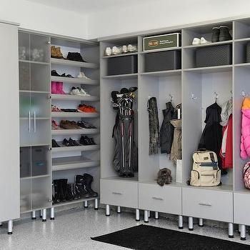 Gray Lacquered Garage Mudroom Lockers