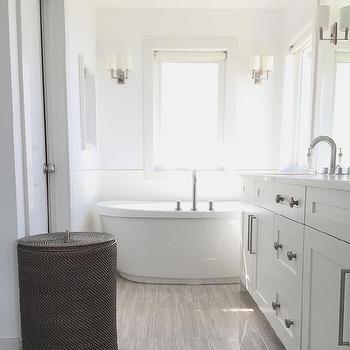 Rejuvenation double end pedestal tub transitional bathroom for Grey wood floor bathroom