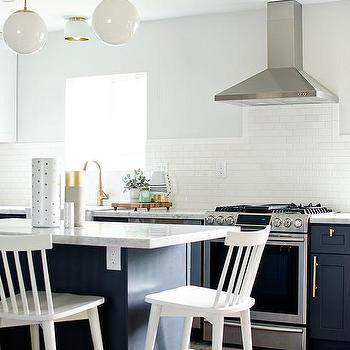 Navy Kitchen Island With White Counter Stools