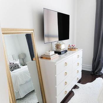 White Ikea Dresser With Gold Hardware, Ikea Gold Mirror