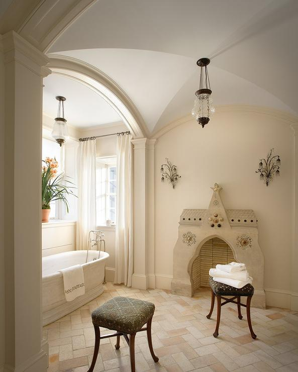 Bathroom Mediterranean Style: Mediterranean Bathroom With Brick Herringbone Floor