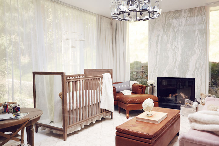 Mirrored Nursery Crib With Harlow Crystal Chandelier