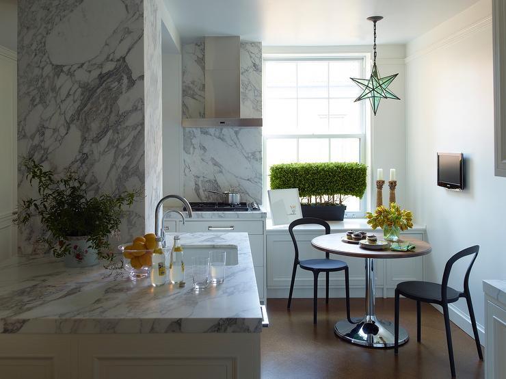 Kitchen Cabinets Ideas kitchen nook cabinets : Modern Breakfast Nook with Moravian Star Pendant - Modern - Kitchen