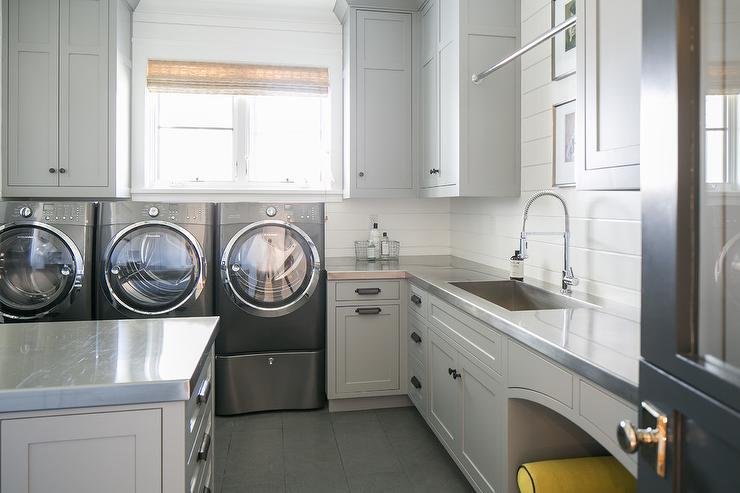 Gray Laundry Room With Black Barn Door Cottage Laundry