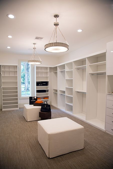 Walk In Closet With Two Pendants Transitional Closet