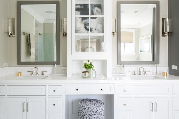 White Bathroom Vanity with Gray Mirror Transitional Bathroom