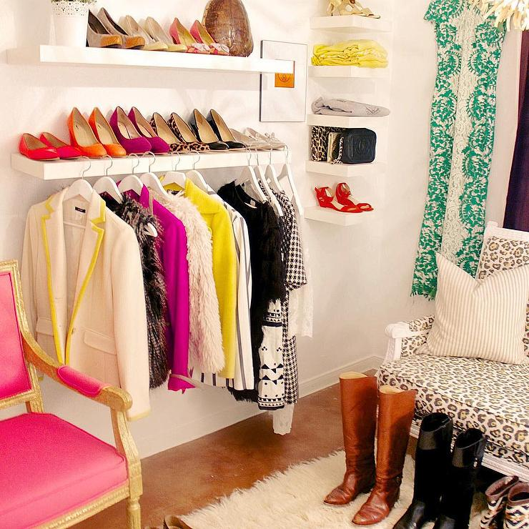 Walk In Closet With Floating Shoe Shelves