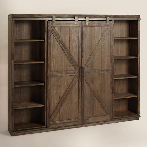 wood brown farmhouse barn door bookcase. Black Bedroom Furniture Sets. Home Design Ideas