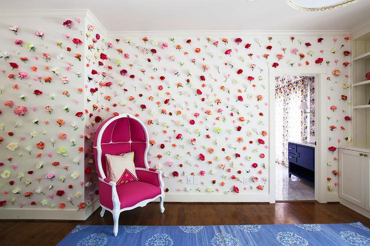 Kids Room With Flowers On Walls