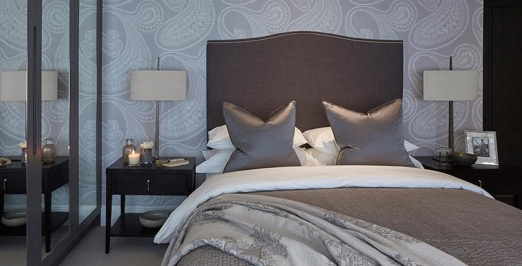 Gray And Brown Bedroom With Paisley Wallpaper