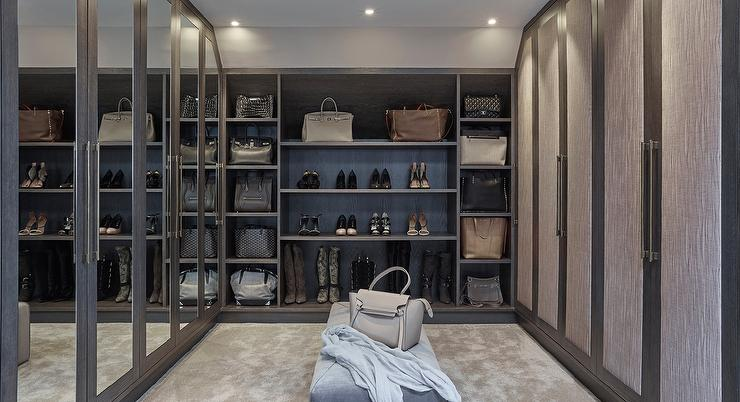 Gray Walk In Closet With Mirrored Wardrobe Doors