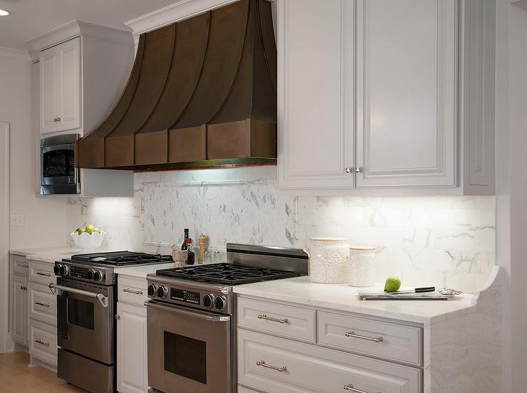 Two Kitchen Stoves With French Kitchen Hood Transitional