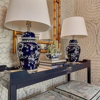 gold mirrored waterfall console table with navy lamps asian entrance foyer. Black Bedroom Furniture Sets. Home Design Ideas