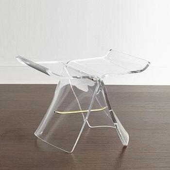 Ghost Clear Acrylic Brass Accents Stool