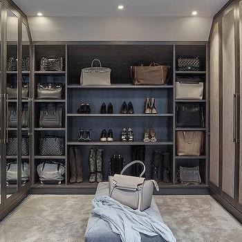 Gray Walk In Closet With Mirrored Wardrobe Doors