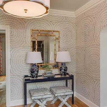 Gold Mirrored Waterfall Console Table With Navy Lamps