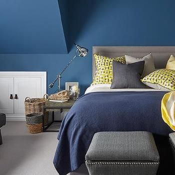 Gray Blue Yellow Bedroom gray bedroom with yellow sofa design ideas