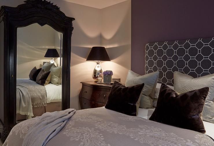 purple and brown bedroom with french mirrored armoire traditional