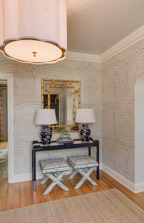 Modern Foyer Wallpaper : Navy console table with gold bamboo mirror transitional