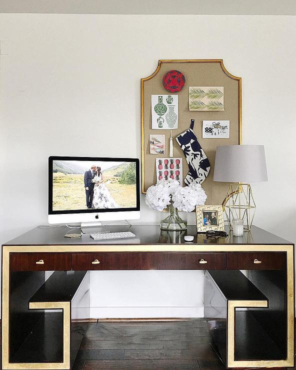 Captivating Greek Key Desk With Gold Pin Board