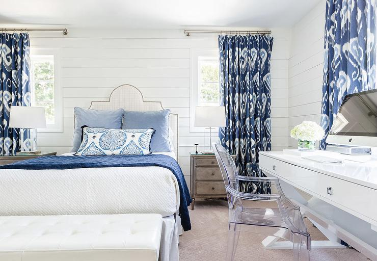 White and Blue Bedroom with Ikat Curtains - Transitional - Bedroom