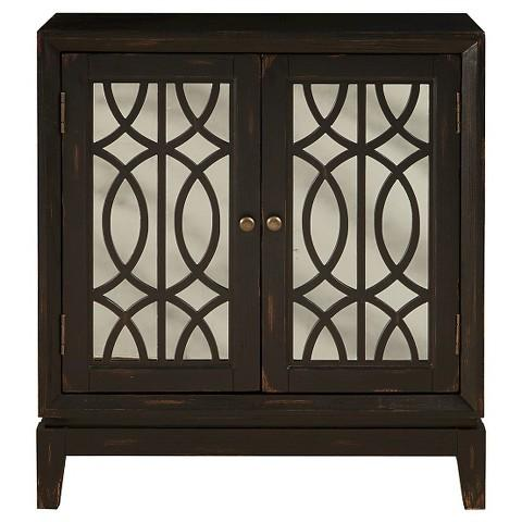 Samuel lawrence black cabinet with mirror doors for Black cabinet with doors