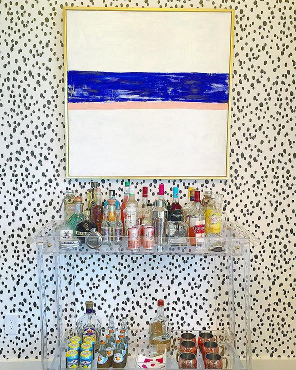 Black Spots Wallpaper with Lucite Bar Cart - Contemporary
