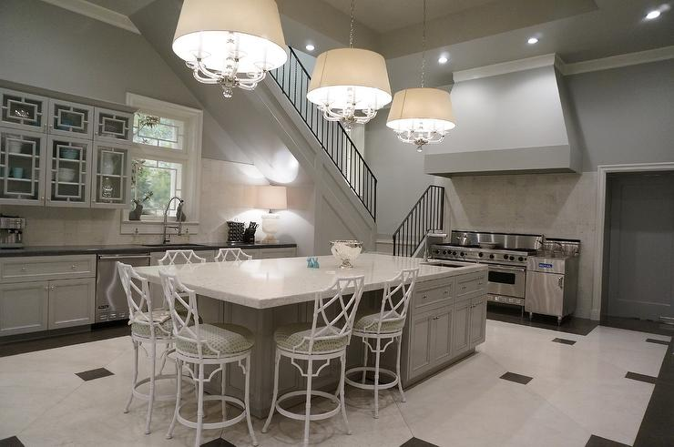 Gray Kitchen Island with White Bamboo Counter Stools  Contemporary