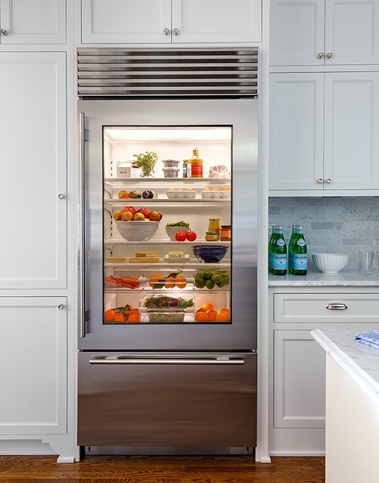 Glass Front Refrigerator With Freezer Drawer