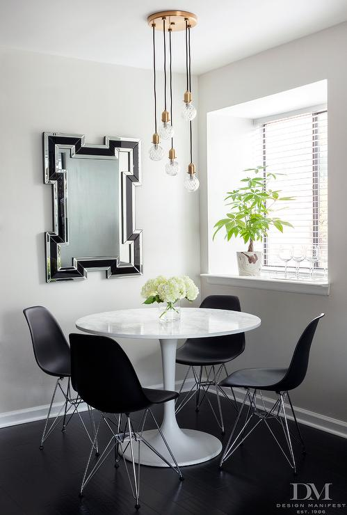 black and white dining room with greek key mirror 24 black and white dining room designs dining room