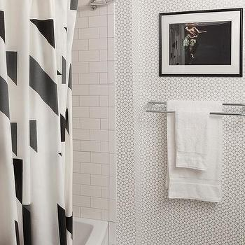 Silver And Black Bathroom With Schumacher Medina Silver Wallpaper