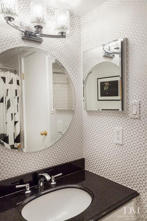 Silver Geometric Bathroom Wallpaper Contemporary Bathroom